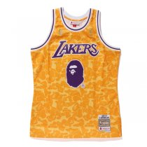 New Bape x Mitchell & Ness Lakers #93 Basketball Swingman Jersey Yellow