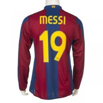 2007-2008 FC Barcelona Home Long Sleeve Retro Jersey MESSI #19 Shirt