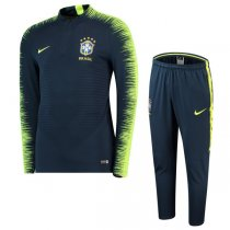 2018 Brazil Navy Sleeve Yellow Zebre Training Suit