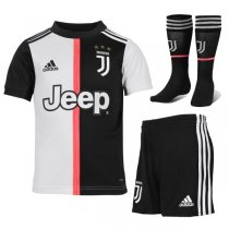 19-20 Juventus Home Soccer Jersey Kids Full Kit