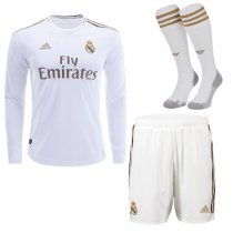 19-20 Real Madrid Home Long Sleeve Soccer Jersey Full Kit(Shirt+Short+Socks)
