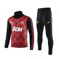 19-20 Manchester United Red&Black High Neck Training Suit