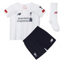 19-20 Liverpool Away White Soccer Jersey Kids Full Kit