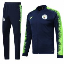 1819 Manchester City Navy Blue Sleeve Yellow Training Jacket Kit