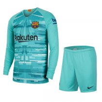 19-20 Barcelona Blue Long Sleeve Goalkeeper Soccer Kit(Shirt+Short)