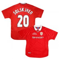 1999 Manchester United Home UCL Winners Jersey SOLSKJAER #20