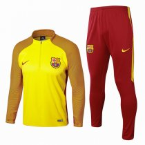 1718 Barcelona Yellow Sleeve Orange Soccer Tracksuit