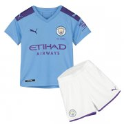 19-20 Manchester City Home Blue Jersey Kids Kit
