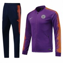 1819 Manchester City Purple Sleeve Orange Training Jacket Kit