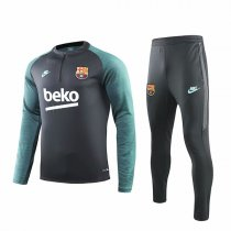 19-20 Barcelona Gray Sleeve Green Print Training Suit