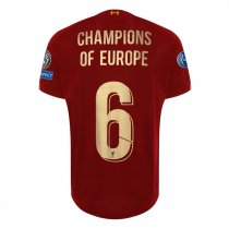 19-20 Liverpool UCL CL 6 Time Winner Home Shirt Gold