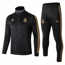 19-20 Real Madrid All Black High Neck Gold Logo Jacket Kit