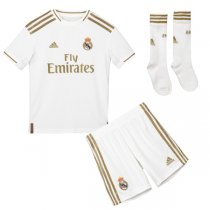 19-20 Real Madrid Home Soccer Jersey Kids Full Kit