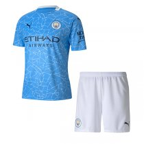 20-21 Manchester City Home Soccer Jersey Kids Kit