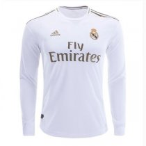 19-20 Real Madrid Home Long Sleeve Soccer Jersey