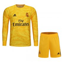 19-20 Real Madrid Home Goalkeeper Long Sleeve Yellow Jersey Kit(Shirt+Short)