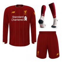 19-20 Liverpool Home Red long Sleeve Soccer Jersey Men Full Kit(Shirt+Short+Socks)