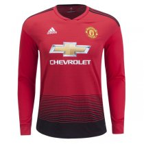 18-19 Manchester United Home Long Sleeve Soccer Jersey Shirt
