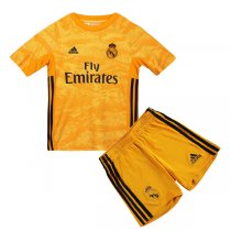 19-20 Real Madrid Home Goalkeeper Yellow Jersey Kids Kit