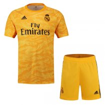 19-20 Real Madrid Home Goalkeeper Yellow Jersey Kit(Shirt+Short)