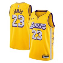 2019-20 Los Angeles Lakers LeBron James 23 Yellow Finished Swingman Jersey