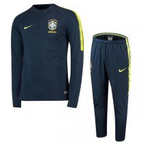 2018 Brazil Navy Sleeve Yellow Training Suit