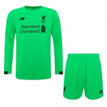 19-20 Liverpool Green Long Sleeve Goalkeeper Men Kit(Shirt+Short)
