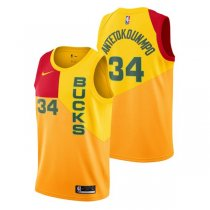 Milwaukee Bucks Giannis Antetokounmpo #34 Yellow Swingman Jersey