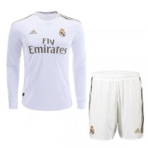 19-20 Real Madrid Home Long Sleeve Soccer Jersey Kit(Shirt+Short)