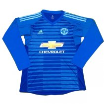 1819 Manchester United Away Goalkeeper Long Sleeve Soccer Jersey Blue