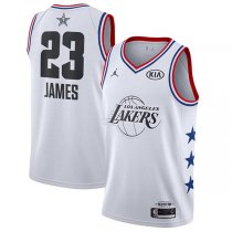 2019 All star Jordan Los Angeles Lakers #23 LeBron James Jersey White