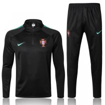 2018 Portugal Black Sleeve Green Training Suit