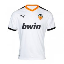 19-20 Valencia Home White Soccer Jersey Shirt