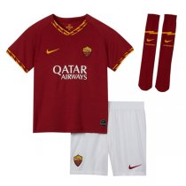 19-20 AS Roma Home Soccer Jersey Kids Full Kit