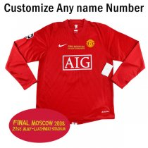 2007-2008 Manchester United Home UCL FINAL Long Sleeve Jersey