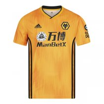 19-20 Wolves Home Yellow Soccer Jersey Shirt