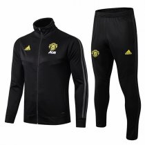 19-20 Manchester United Hing Neck Black Yellow Logo Jacket Kit